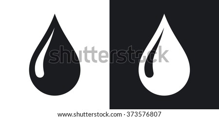 Vector rain drop icon. Two-tone version on black and white background