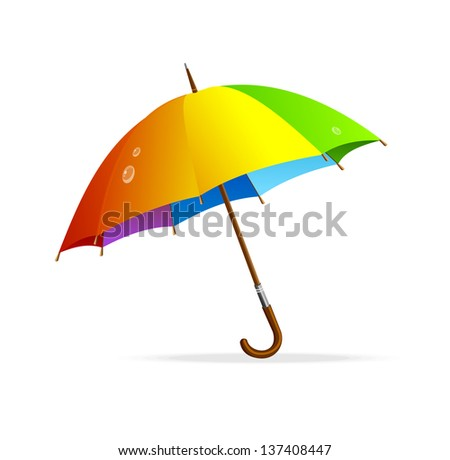 Vector rainbow umbrella isolated