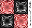 vector ray pattern black & white & red background - stock vector