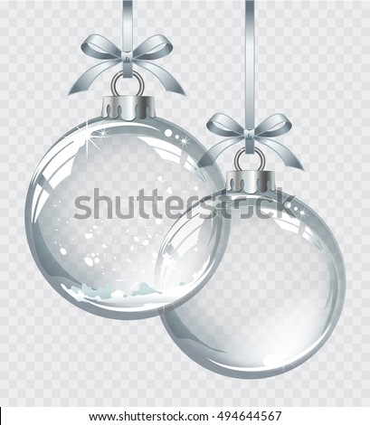 Vector realistic transparent silver Christmas balls with snow on a light abstract background