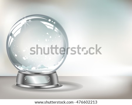 Vector realistic transparent snow globe with snow on a light abstract background