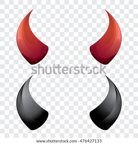 vector Red and black devil, demon, satan horns isolated. Halloween evil horns