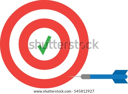 Vector red bullseye with green check mark and blue dart.