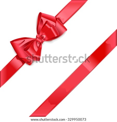 Vector Red Ribbon with Bow isolated on white background