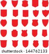 Vector Red Shields Set - stock vector