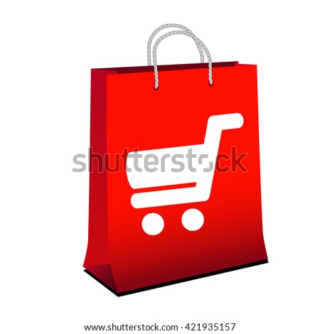 Vector red shopping paper bag with simple white symbol of shopping cart - trolley. Item, button on web page.