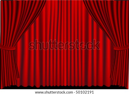 Vector Red Stage Curtains Drawn Close On Stage