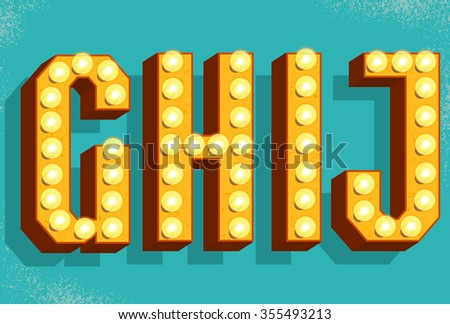 vector retro letters with light bulbs old vintage style marquee letters gh