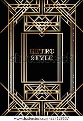 Vector geometric cards art deco style stock vector for Deco style retro
