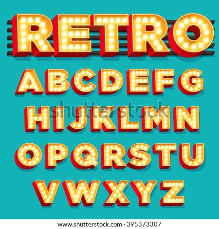 Vector Retro Theater Sign letters with Light bulbs