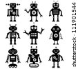 Vector robot silhouettes set - stock vector