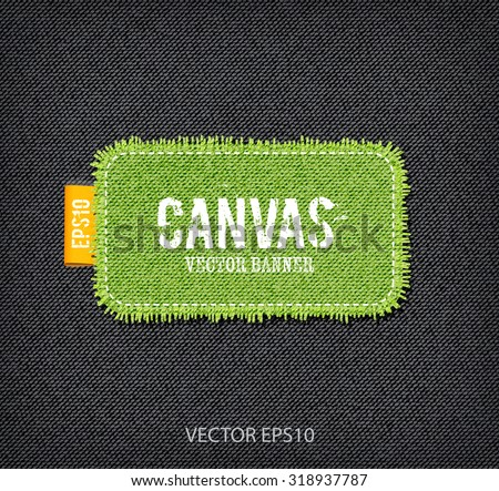 Vector rough stitched green canvas rectangular banner with fringe and a tag