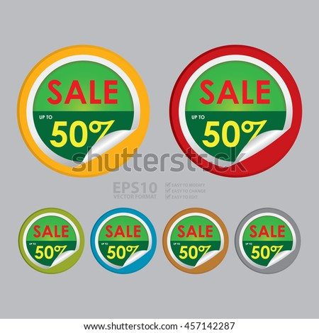 Vector : Sale Up To 50% Special Promotion Campaign Infographics Icon on Circle Peeling Sticker