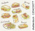 Vector sandwich doodle with background pattern - stock