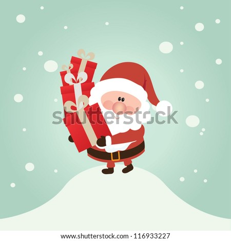 Vector Santa Claus wave.  Vector illustration for retro christmas card. Snow landscape background.