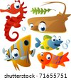 vector sea animals - stock photo