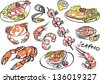 Vector seafood drawing set - stock vector