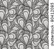 vector seamless abstract floral pattern, monochrome, 4 clipping masks - stock vector