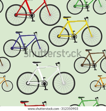 Vector seamless background. Colorful bikes.
