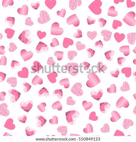 Vector seamless background with hearts.