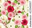 Vector seamless background with red, pink and white roses, lisianthuses and ranunculus flowers and green leaves. - stock vector