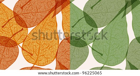 vector seamless backgrounds with autumn and spring  leaves,