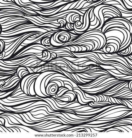 Vector seamless black and white abstract hand-drawn pattern with waves