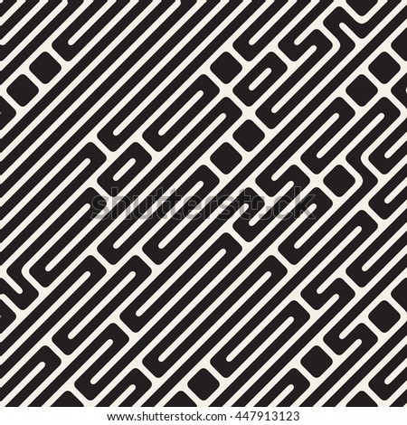 Vector Seamless Black and White Diagonal Maze Lines Pattern. Abstract Geometric Background Design
