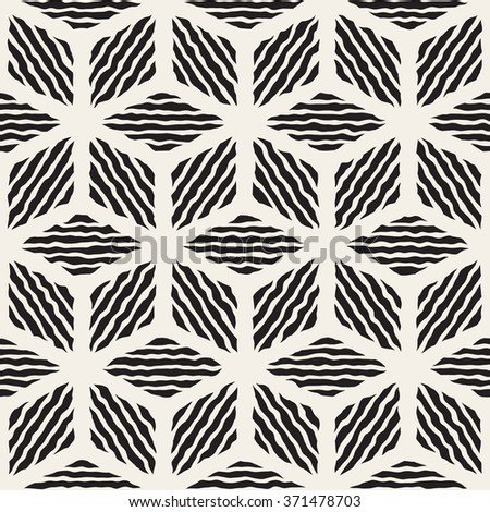 Vector Seamless Black And White Hand Painted Line Geometric Rhombus Stripes Pattern Abstract Background