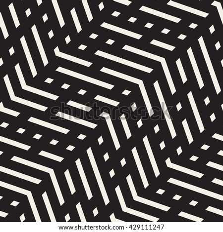 Vector Seamless Black And White Jumble ZigZag Lines Pattern. Abstract Geometric Background