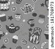 Vector seamless black and white pattern. Retro kitchen objects: teapots, cups, jar with jam, cakes, lemons. Cute hand drawing backdrop - stock photo