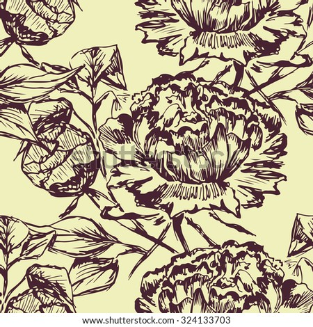 Vector seamless bright ethnic endless peonies pattern, floral ornament, fashion pattern for fabric