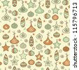 vector seamless Christmas pattern with fir tree toys,  fully editable eps 8 file with clipping mask and pattern in swatch menu - stock vector