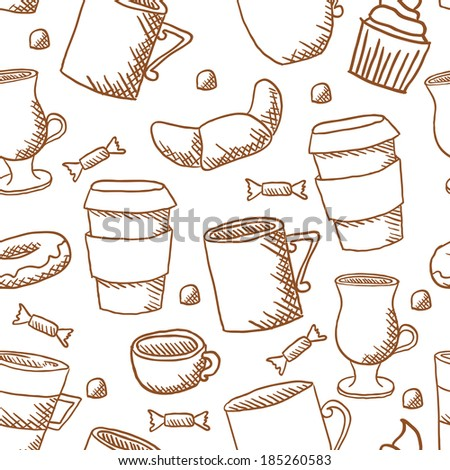 Vector seamless coffee cups and mugs pattern