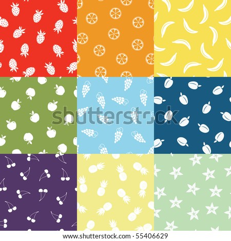 stock vector vector seamless colored fruit patterns 55406629 - Каталог — Фотообои «Еда, фрукты, для кухни»