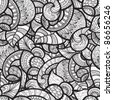 vector seamless ethnic doodle monochrome pattern - stock vector