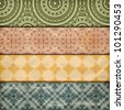 vector seamless floral borders on  crumpled   paper, grunge texture, eps 10, gradient mesh - stock photo