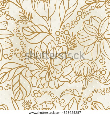 Vector Seamless floral hand drawn detailed pattern, bouquet of flowers.