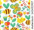 Vector seamless floral pattern. Summer composition with honeycomb, bees, flowers. Use it as pattern fills, web page background, surface textures, fabric or paper, backdrop design. Summer template. - stock vector