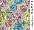 Vector seamless floral pattern with freehand sketch of roses - stock vector