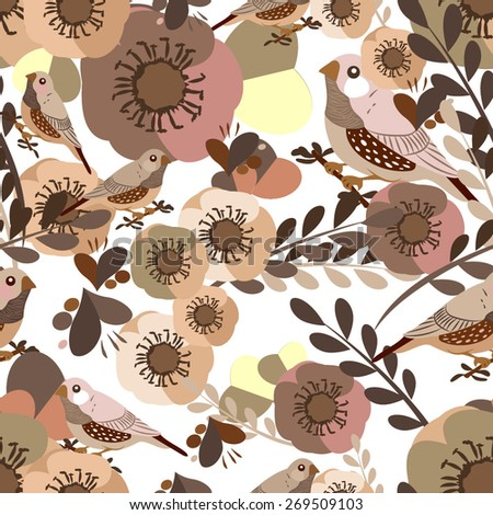Vector seamless flower pattern with anemone and amadina bird