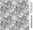 vector seamless hand drawn monochrome floral pattern, clipping masks - stock vector
