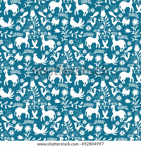 Vector Seamless Mexican Otomi Style Blue Pattern