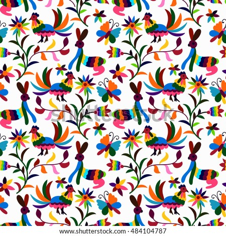 Vector Seamless Mexican Otomi Style Bright Pattern