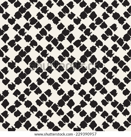 Vector seamless pattern. Abstract background with rhombuses from square brush strokes. Monochrome hand drawn texture