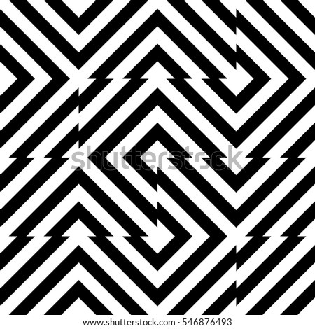 Vector seamless pattern. Decorative element, design template with striped black and white diagonal inclined lines. Background, texture with optical illusion effect. Technologic tiles in op art style