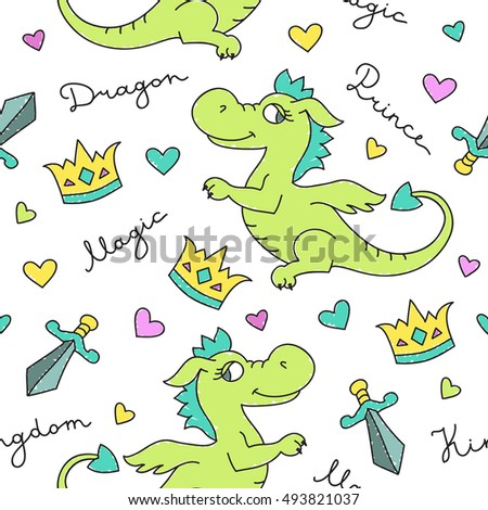 vector seamless pattern of cute cartoon dragons, crowns and swords, texture for fabric print, souvenirs, baby's products design