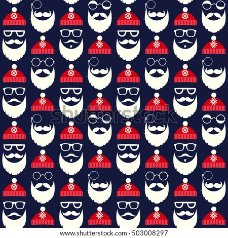 Vector seamless pattern of faces with Santa hats, mustache and beards. Various doodles Christmas Santa design elements. Holiday icons