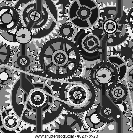 Vector seamless pattern of various gears and cogwheels.