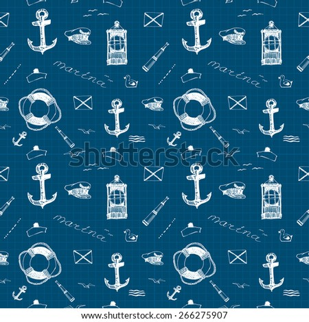 Vector seamless pattern on the marine theme white pen